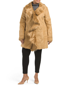 Plus Ruffle Faux Shearing Jacket