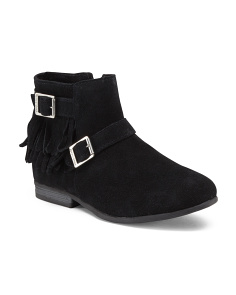 Buckle Fringe Suede Booties