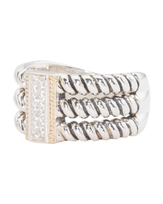 14k Gold And Sterling Silver Cubic Zirconia Triple Rope Band Ring