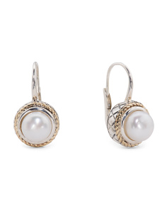 Made In Thailand 14k Gold And Sterling Silver Pearl Button Drop Earrings