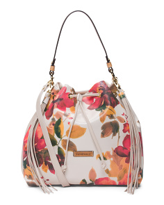 Made In Italy Floral Drawstring Leather Hobo