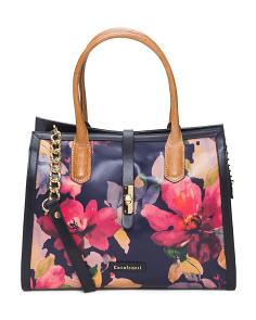 Made In Italy Large Floral Leather Satchel