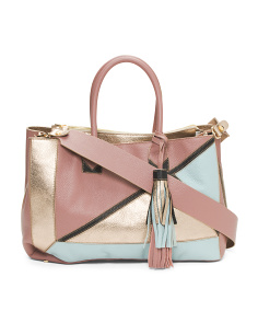 Made In Italy Colorblock Leather Tote