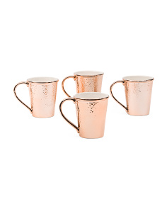 4pk Metallic Hammered Mugs