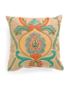 18x18 Made In India Beaded Multicolor Pillow