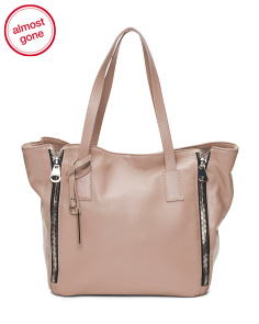 Made In Italy Zip Leather Tote
