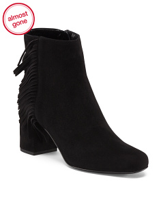 Made In Italy Babies Fringed Suede Block Heel Ankle Boots
