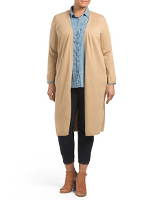 Plus Ribbed Maxi Cardigan