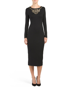 Midi Dress With Neck Embroidery