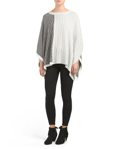 Cable Waffle Stitch Sweater Poncho