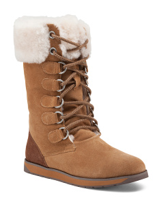 Lace Up Merino Lined Suede Boots