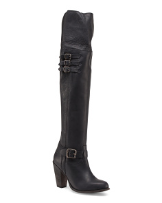 Leather Over The Knee Buckle Boots
