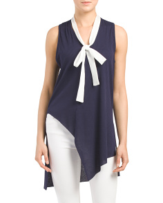 Made In USA Colorblock Tie Neck Tunic
