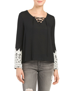Crochet Bell Sleeve Lace Up Top