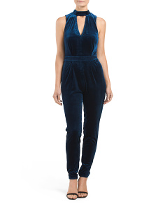 Juniors Velvet Choker Jumpsuit