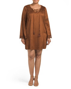 Plus Juniors Faux Suede Bell Sleeve Dress