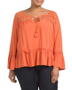 Plus Juniors Lace Bell Sleeve Top