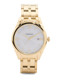 Men's Swiss Made Apollo Gold Ip Bracelet Watch