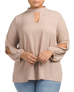 Plus Juniors Mock Neck Keyhole Blouse