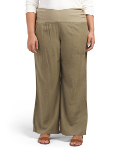 Plus Wide Leg Summer Twill Pants