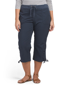 Plus Side Stretch Poplin Crop Pants