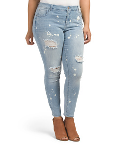 Plus Splatter Destructed Jeans