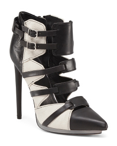 Leather Pointy Toe Caged Booties
