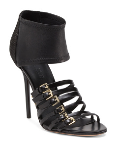 Buckle Strap Stiletto Leather Sandal