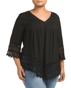 Plus V Neck Lace Trim Button Up Top