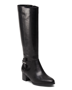 Back Zip Riding Leather Boots