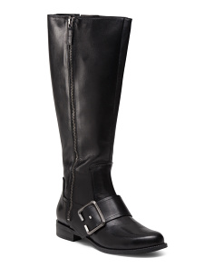 Tall Riding Leather Boots With Buckle