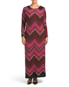 Plus Made In Usa Chevron Gown