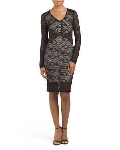 Juniors Lace Illusion Bodycon Dress