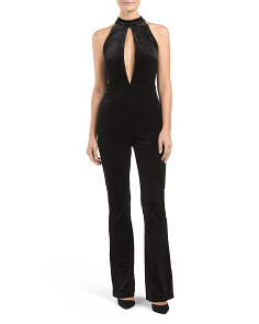 Juniors Velvet Wide Leg Jumpsuit