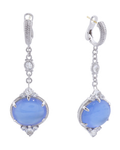 Made In Thailand Sterling Silver Blue Quartz Doublet Allure Drop Earrings