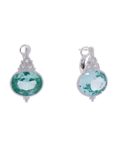 Made In Thailand Sterling Silver Paraiba Spinel And White Sapphire Earrings