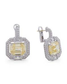 Made In Thailand Sterling Silver Emerald Cut Canary Crystal Earrings
