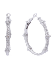 Made In Thailand Sterling Silver And Diamond Hoop Earrings