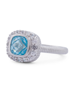 Made In Thailand Sterling Silver Pave Sapphire And Blue Crystal Isabella Ring