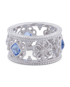 Made In Thailand Sterling Silver Fleur White Sapphire And Blue Quartz Ring