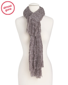 Fringed Speckle Knit Scarf