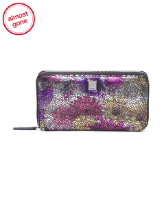 Metallic Floral Leather Wallet