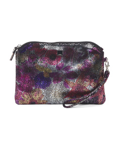 Metalic Floral Leather Pouch