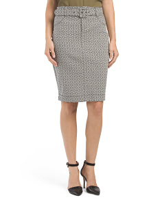 Printed Pencil Skirt With Belt