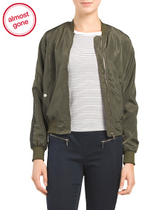 Juniors Double Striped Bomber Jacket