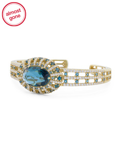 Made In Thailand 18k Gold London Blue Topaz And Diamond Cuff Bracelet