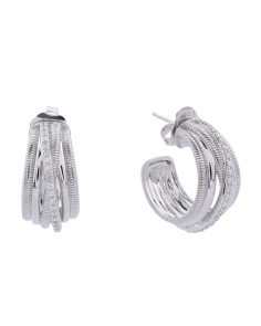 Made In Thailand 18k White Gold Pave Diamond Eternity Hoop Earrings