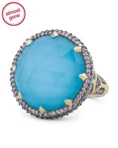 Made In Thailand 18k Gold Diamond And Turquoise Doublet Round Monaco Ring