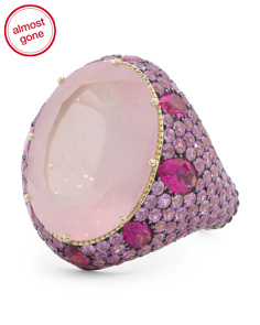 Made In Thailand 18k Gold Rose Quartz Rubellite And Pink Sapphire Ring