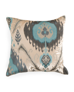 22x22 Velvet Pillow With Ikat Embroidery